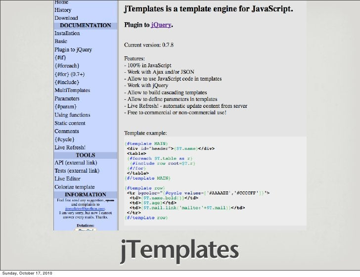 jTemplates Sunday, October 17, 2010