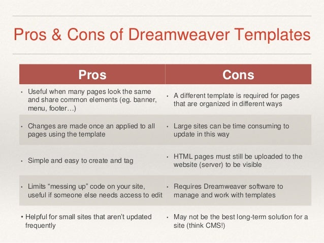 Module 4 Dreamweaver Templates Static Vs Dynamic Content