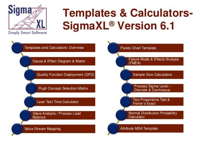 Templates & CalculatorsSigmaXL® Version 6.1 Templates and Calculators: Overview  Cause & Effect Diagram & Matrix  Quality ...