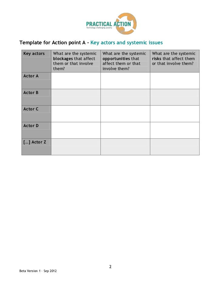 Template for Action point A - Key actors and systemic issues  Key actors          What are the systemic   What are the sys...
