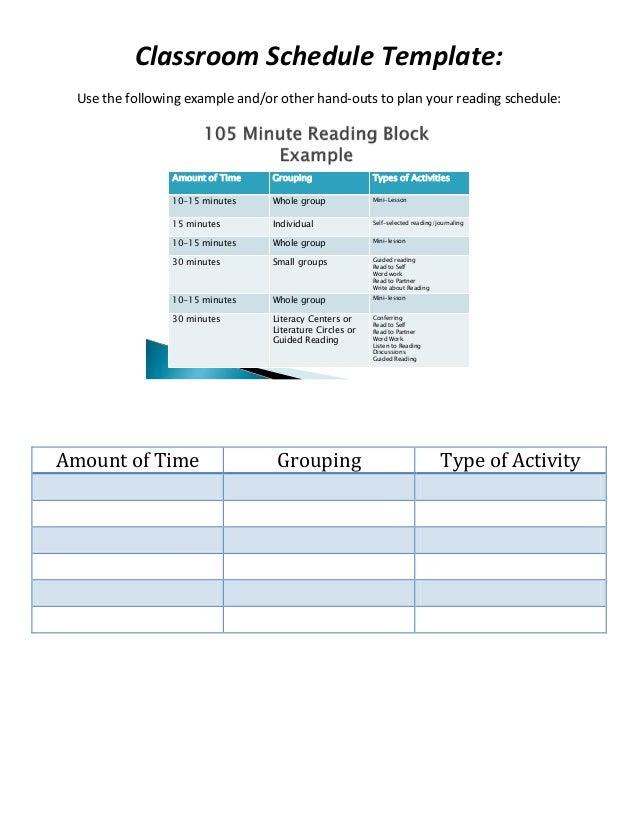 15 minute schedule template