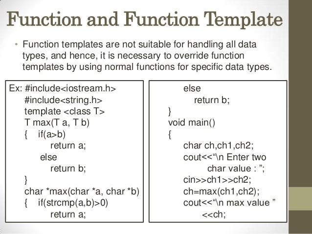 Templates presentation for What is template function