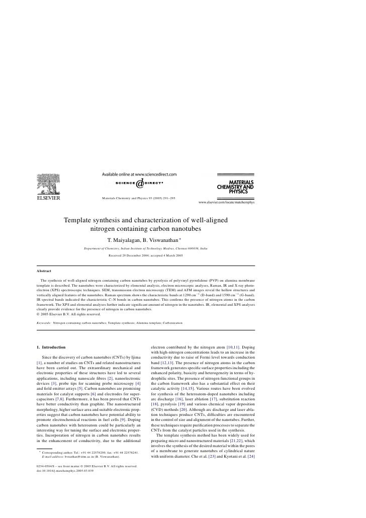 Materials Chemistry and Physics 93 (2005) 291–295                   Template synthesis and characterization of well-aligne...