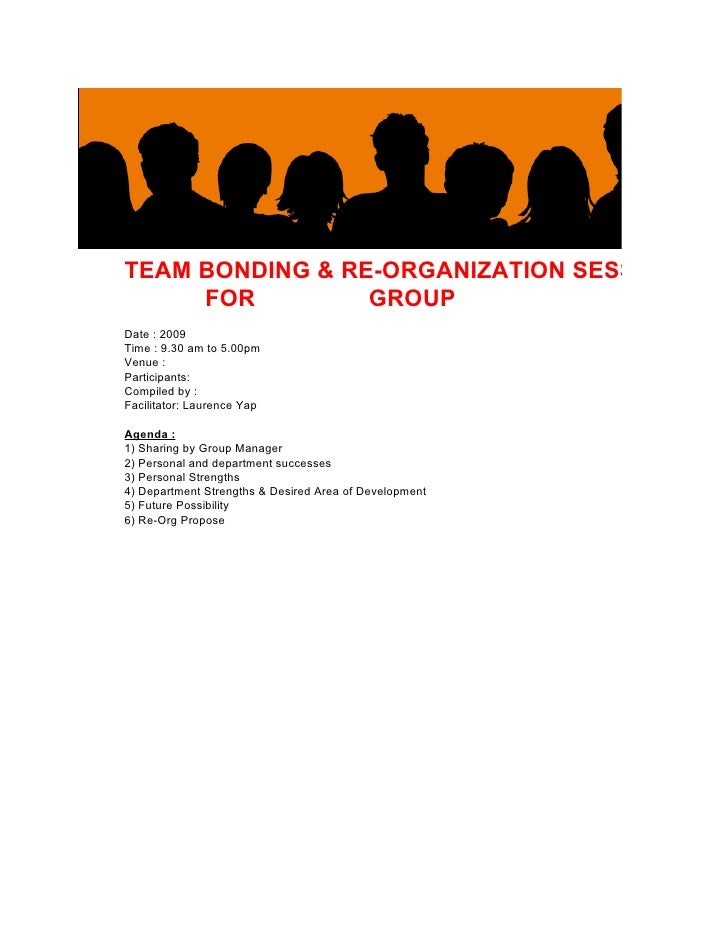 TEAM BONDING & RE-ORGANIZATION SESSION     FOR         GROUPDate : 2009Time : 9.30 am to 5.00pmVenue :Participants:Compile...