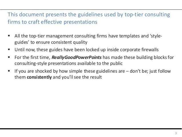 Slide guide for consulting-style presentations Slide 3