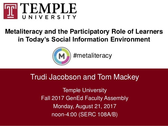 Metaliteracy and the Participatory Role of Learners in Today's Social Information Environment 1 Trudi Jacobson and Tom Mac...