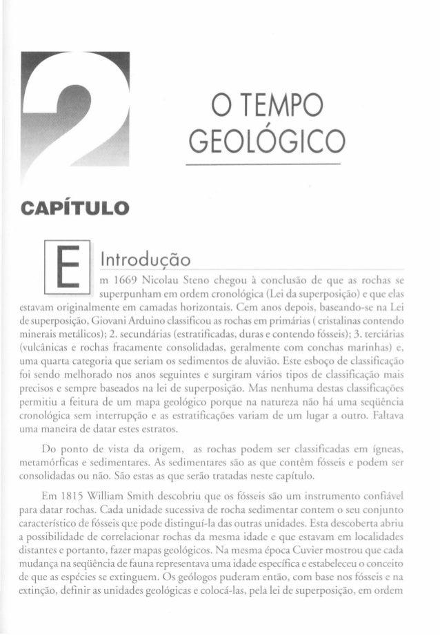 oTEMPO, GEOLOGICO CAPíTULO Introducão, m 1669 Nicolau Sreno chegou à conclusão de que as rochas se superpunham em ordem cr...