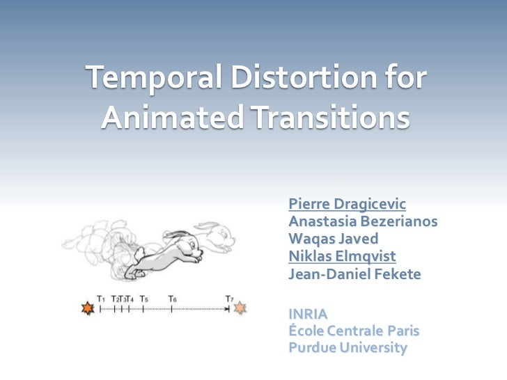 Temporal Distortion for Animated Transitions<br />Pierre Dragicevic<br />Anastasia Bezerianos<br />WaqasJaved<br />NiklasE...