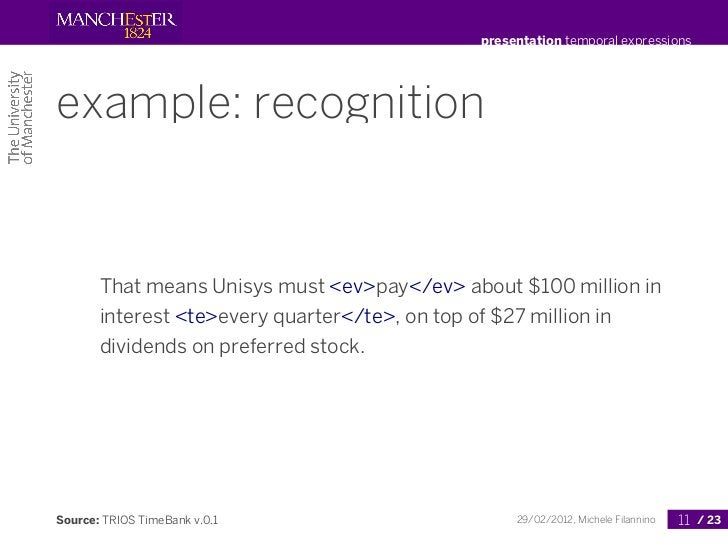 presentation temporal expressionsexample: recognition       That means Unisys must <ev>pay</ev> about $100 million in     ...