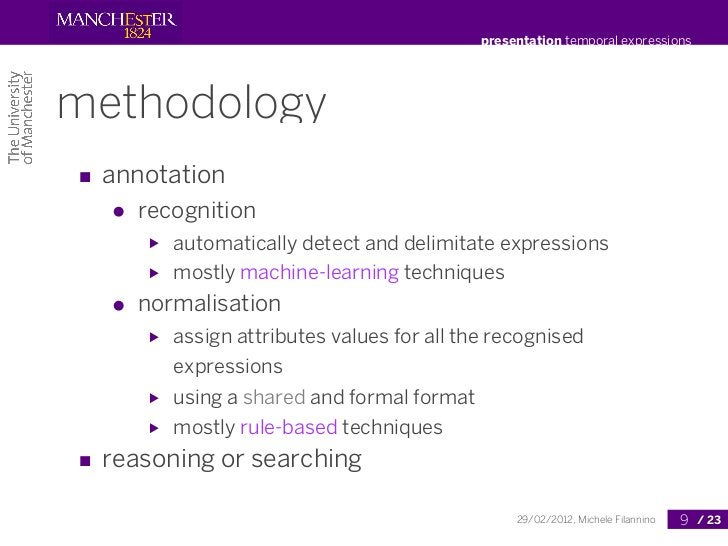 presentation temporal expressionsmethodology■ annotation  ●   recognition      ▶   automatically detect and delimitate exp...
