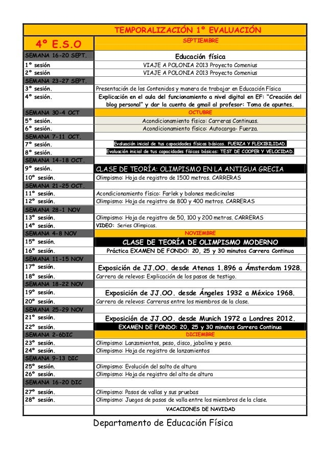 TEMPORALIZACIÓN 1º EVALUACIÓN  4º E.S.O  SEPTIEMBRE  SEMANA 16-20 SEPT.  Educación física  1º sesión 2º sesión SEMANA 23-2...
