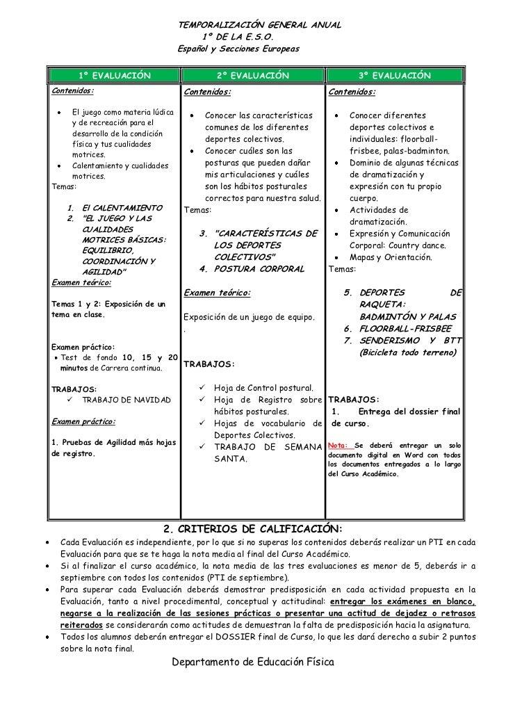 TEMPORALIZACIÓN GENERAL ANUAL                                         1º DE LA E.S.O.                                    E...
