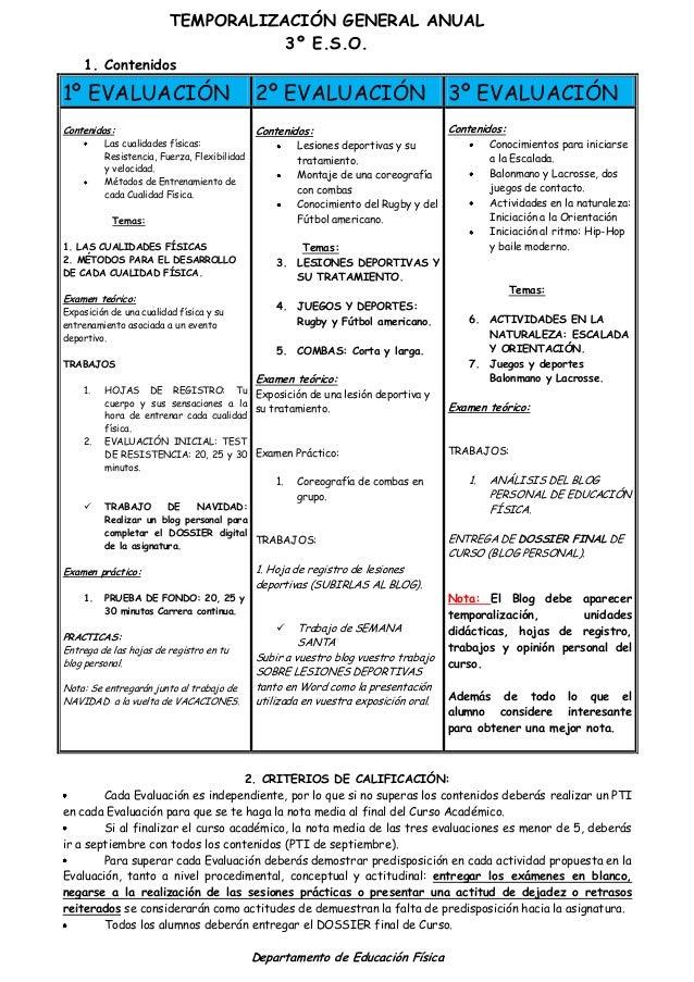 TEMPORALIZACIÓN GENERAL ANUAL 3º E.S.O. 1. Contenidos 1º EVALUACIÓN 2º EVALUACIÓN 3º EVALUACIÓN Contenidos: Las cualidades...