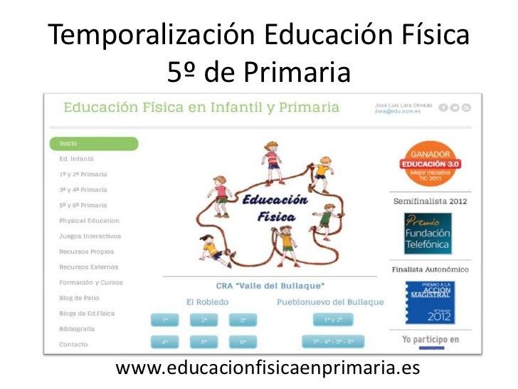 Temporalización Educación Física        5º de Primaria     www.educacionfisicaenprimaria.es