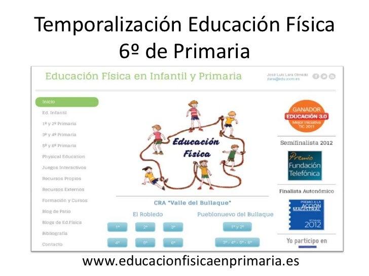 Temporalización Educación Física        6º de Primaria     www.educacionfisicaenprimaria.es