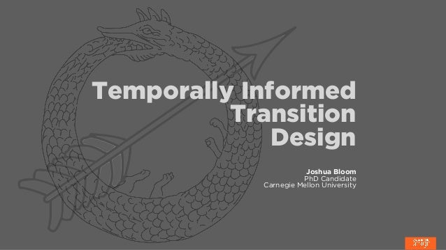 Temporally Informed Transition Design Joshua Bloom PhD Candidate Carnegie Mellon University