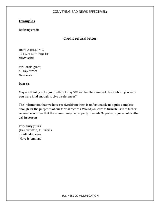 bad news letter in business communication examples