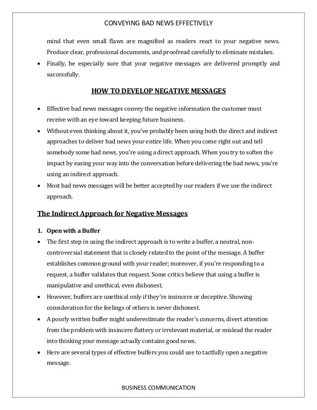 Bad news letter indirect approach homework writing service bad news letter indirect approach formats for bad news correspondence contributed by deane the indirect format spiritdancerdesigns Image collections