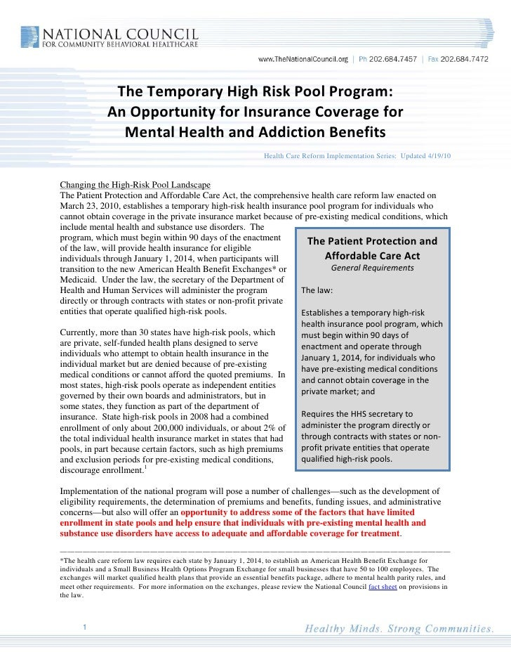 The Temporary High Risk Pool Program:                An Opportunity for Insurance Coverage for                  Mental Hea...