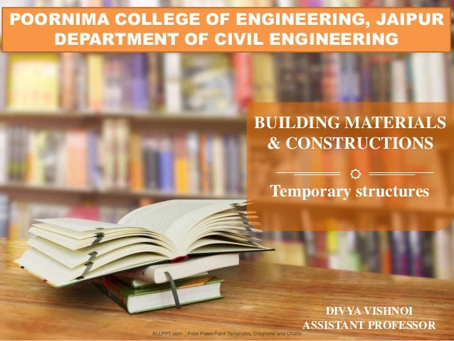 ALLPPT.com _ Free PowerPoint Templates, Diagrams and Charts BUILDING MATERIALS & CONSTRUCTIONS POORNIMA COLLEGE OF ENGINEE...