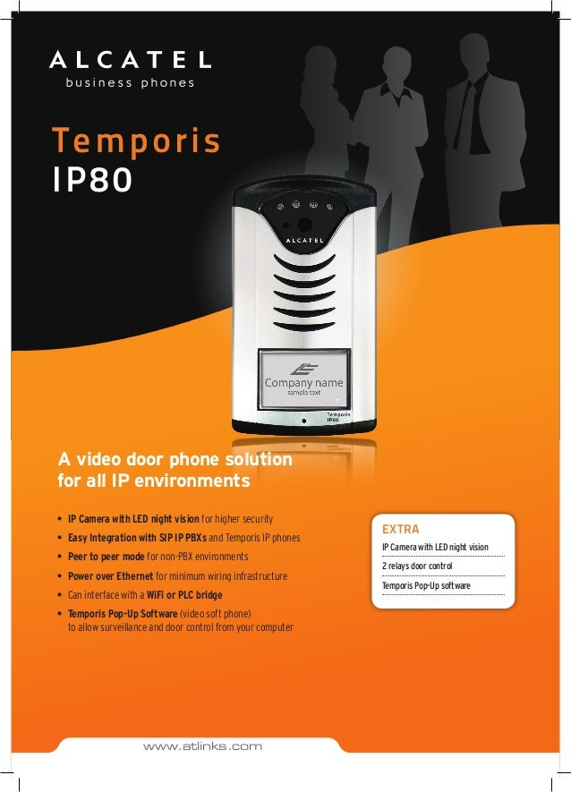 Temporis IP80 EXTRA IP Camera with LED night vision 2 relays door control Temporis Pop-Up software www.atlinks.com A video...