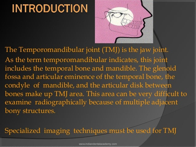 The Temporomandibular joint (TMJ) is the jaw joint. As the term temporomandibular indicates, this joint includes the tempo...