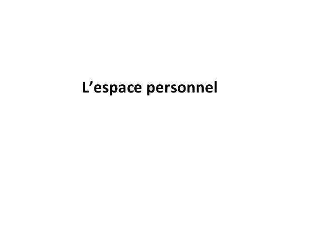 L'espace personnel