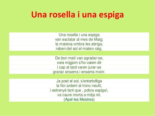 Una rosella i una espiga Una rosella i una espiga van esclatar al mes de Maig; la mateixa ombra les abriga, reben del sol ...