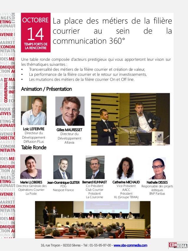 OCTOBRE  14  TEMPS FORTS DE LA RENCONTRE  La place des métiers de la filière courrier au sein de la communication 360°  Un...