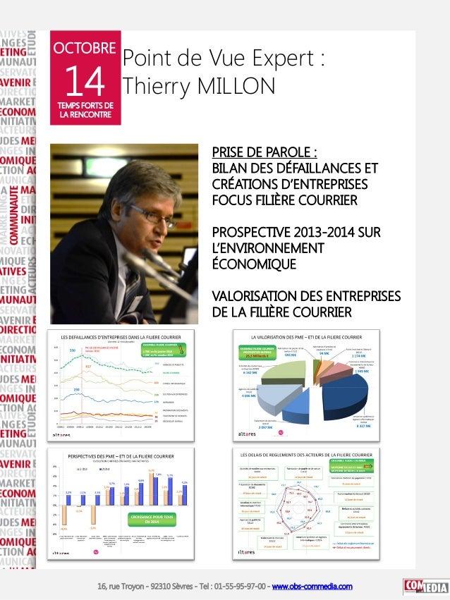 OCTOBRE  14  Point de Vue Expert : Thierry MILLON  TEMPS FORTS DE LA RENCONTRE  PRISE DE PAROLE : BILAN DES DÉFAILLANCES E...