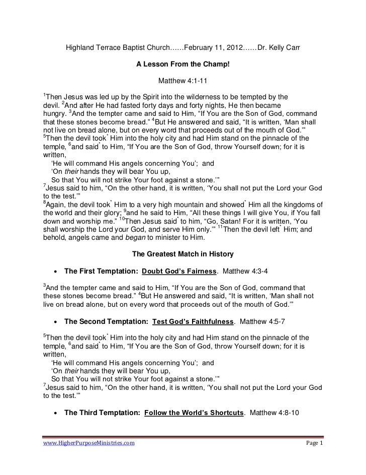 Highland Terrace Baptist Church……February 11, 2012……Dr. Kelly Carr                                  A Lesson From the Cham...