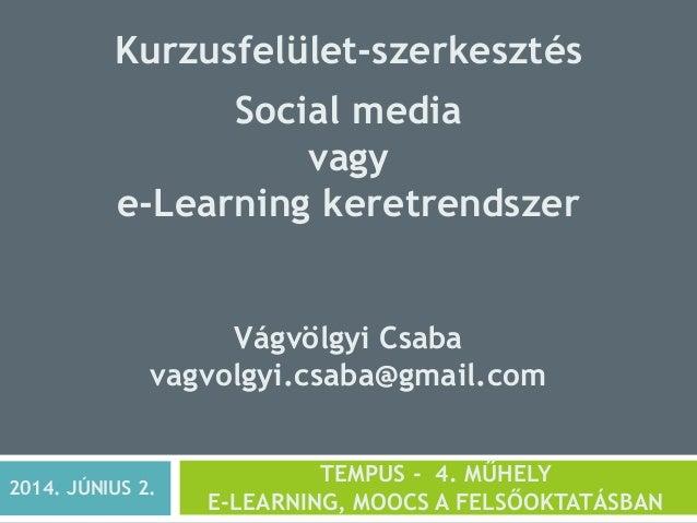 Kurzusfelület-szerkesztés Social media vagy e-Learning keretrendszer Vágvölgyi Csaba vagvolgyi.csaba@gmail.com TEMPUS - 4....