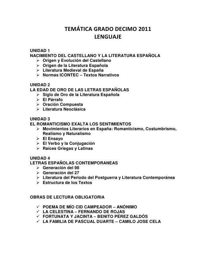 TEMÁTICA GRADO DECIMO 2011                         LENGUAJEUNIDAD 1NACIMIENTO DEL CASTELLANO Y LA LITERATURA ESPAÑOLA   O...