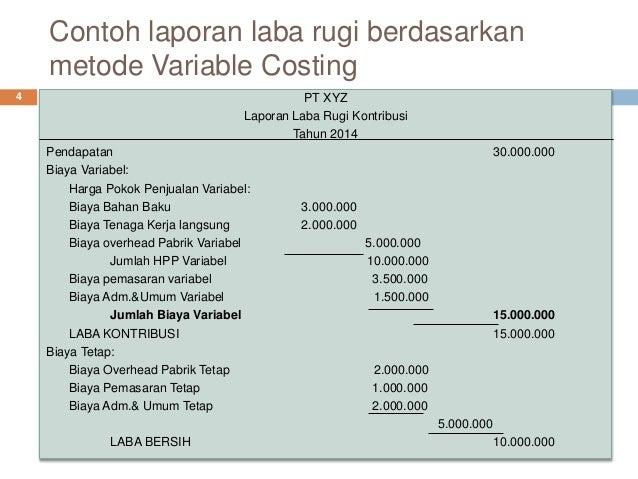 contoh soal laporan laba rugi variable costing