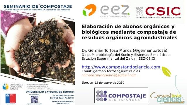 1 Elaboración de abonos orgánicos y biológicos mediante compostaje de residuos orgánicos agroindustriales Dr. Germán Torto...