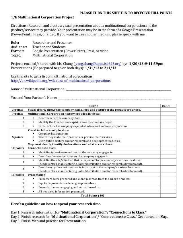 PLEASE TURN THIS SHEET IN TO RECECIVE FULL POINTS T/E Multinational Corporation Project  Direc...