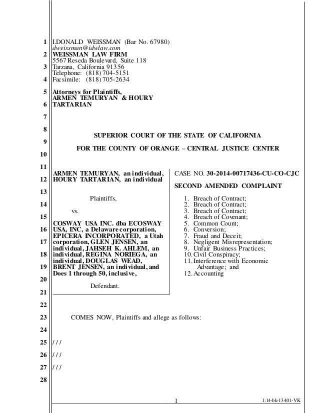 Temuryan vs  Cosway, et al Second Amended Complaint