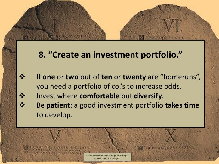 """8. """"Create an investment portfolio.""""   If one or two out of ten or twenty are """"homeruns"""",    you need a portfolio of co.'..."""