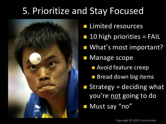 Copyright© 2011YourVersion 5.PrioritizeandStayFocused Limitedresources 10highpriorities=FAIL What'smostimport...