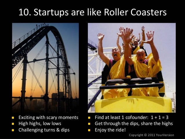 Copyright© 2011YourVersion 10.StartupsarelikeRollerCoasters Excitingwithscarymoments Highhighs,lowlows Challe...