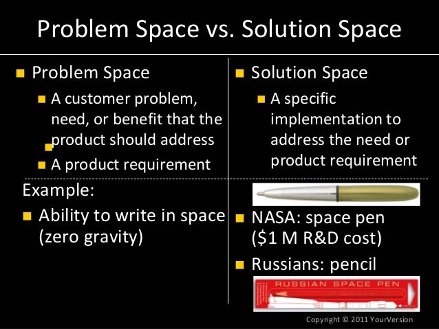 Copyright© 2011YourVersion Russians:pencil NASA:spacepen ($1MR&Dcost) Example: Abilitytowriteinspace (zerogr...
