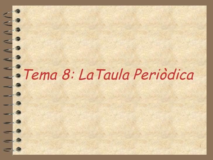 Tema 8: LaTaula Periòdica