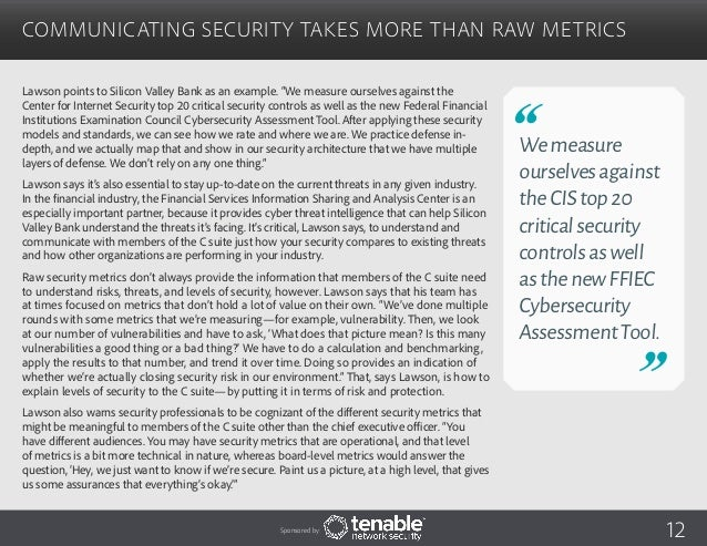 Security Metrics That Drive Action in the Financial Services Industry