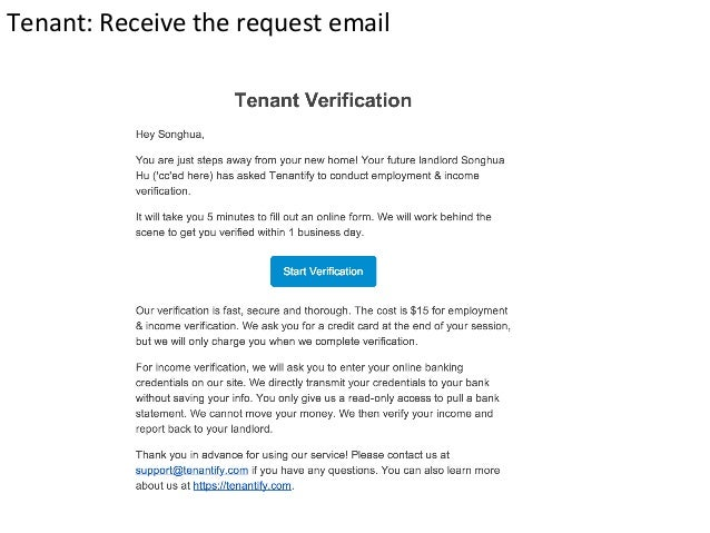 Tenantify Tenant Employment and Income Verification – Tenant Verification Form