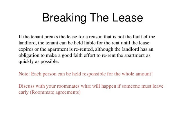 Tenant landlord presentation 1 breaking the leaseif the tenant breaks the lease spiritdancerdesigns Choice Image