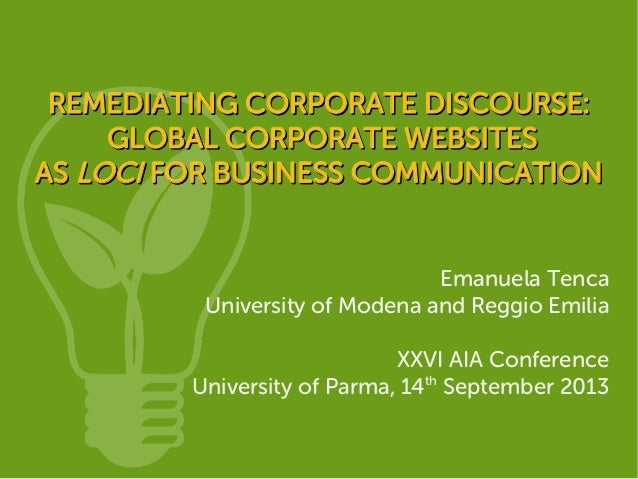 REMEDIATING CORPORATE DISCOURSE:REMEDIATING CORPORATE DISCOURSE: GLOBAL CORPORATE WEBSITESGLOBAL CORPORATE WEBSITES ASAS L...