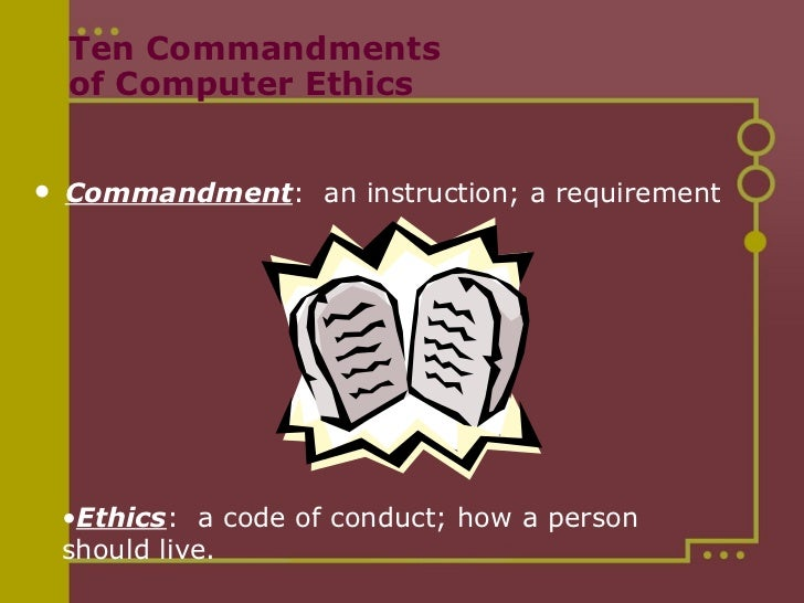 essay ten commandments computer ethics This research paper computing and ethics and other 64,000+ term papers, college essay examples and free essays are available now  ten commandments of computer ethics.