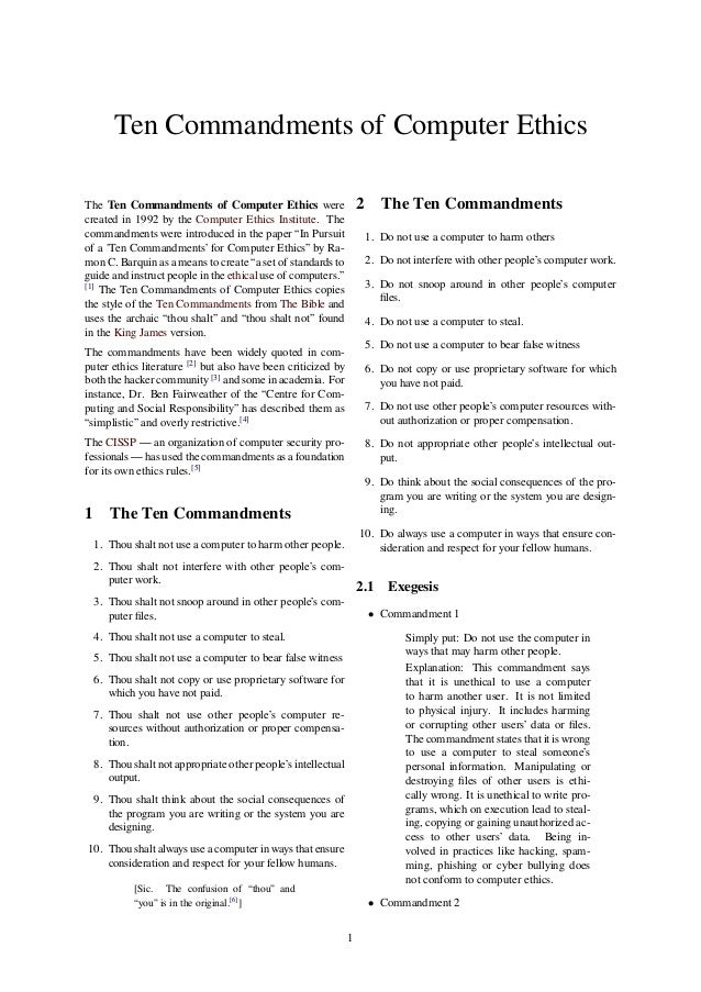 the ten commandments of computer ethics 2009-9-24  delivering you the best in inspirational articles, life stories, quotes and more.