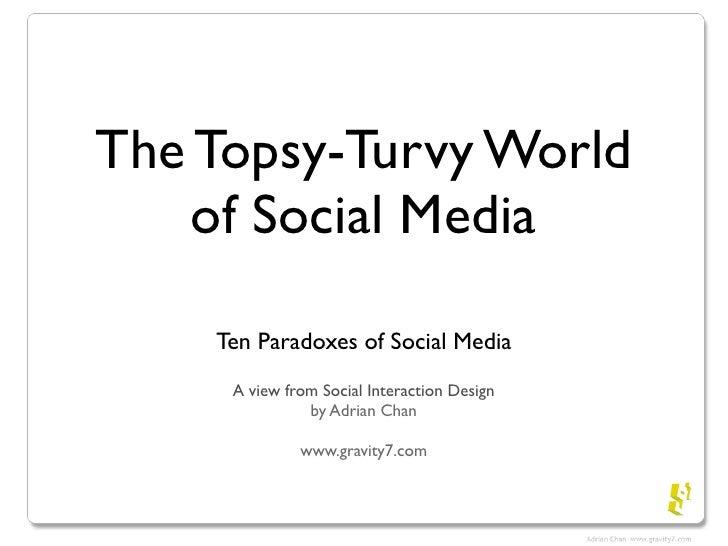 The Topsy-Turvy World     of Social Media      Ten Paradoxes of Social Media      A view from Social Interaction Design   ...