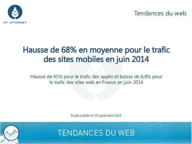 Hausse de 68% en moyenne pour le trafic des sites mobiles en juin 2014Hausse de 45% pour le trafic des applis et baisse de...